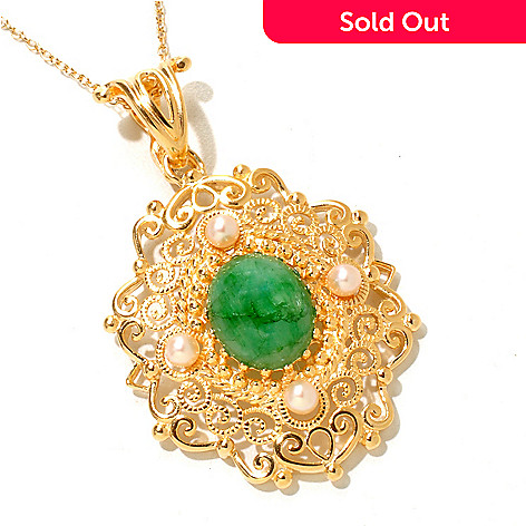 119-414 - Jaipur Bazaar Gold Embraced™ 12 x 10mm Dyed Emerald & Cultured Pearl Pendant