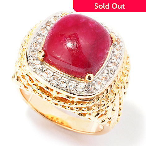 119-418 - Jaipur Bazaar Gold Embraced™ 11mm Dyed Ruby & White Topaz Ring