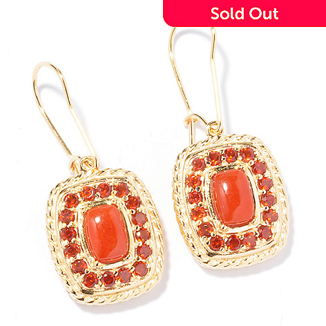 119-419 - Jaipur Bazaar Gold Embraced™ Dyed Red Jade & Garnet Drop Earrings