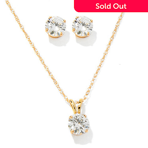119-441 - Forever Brilliant® Moissanite 14K Gold 1.23 DEW 5mm Stud Earrings & Pendant Set