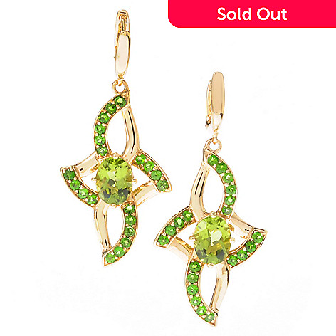119-458 - Omar Torres 4.28ctw Peridot & Chrome Diopside Elongated Pinwheel Earrings