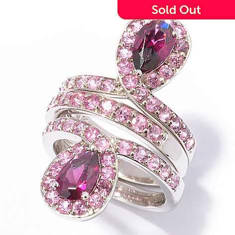 119-460 - Omar Torres Set of Three 3.26ctw Garnet & Pink Tourmaline Stack Rings