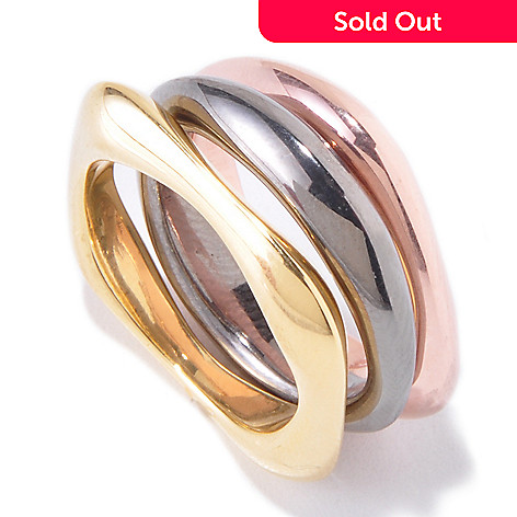 119-476 - Milano Luxe Gold Embraced[ Set of Three Squared Stack Band Rings