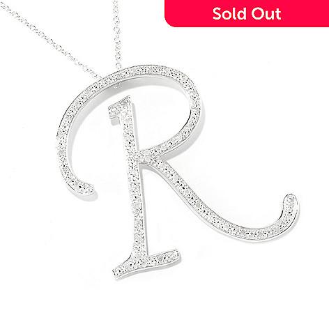 119-478 - Diamond Treasures® Sterling Silver Diamond Initial Pendant w/ 24'' Chain