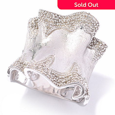 119-494 - NYC II 0.21ctw Diamond Brushed Ruffles Wide Band Ring