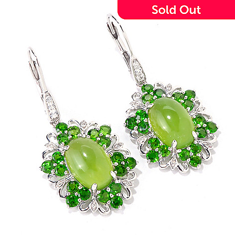 119-503 - Gem Insider Sterling Silver Green Opal & Multi Gemstone Earrings