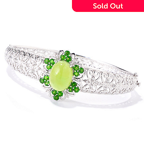 119-506 - Gem Insider Sterling Silver 8'' Green Opal & Multi Gemstone Bangle Bracelet