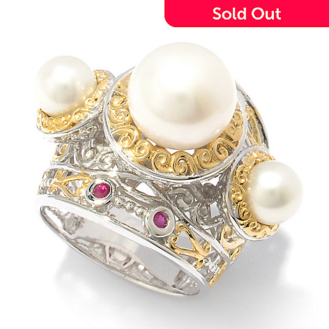 119-507 - Gems en Vogue II Bleached Freshwater Cultured Pearl & Ruby Ring