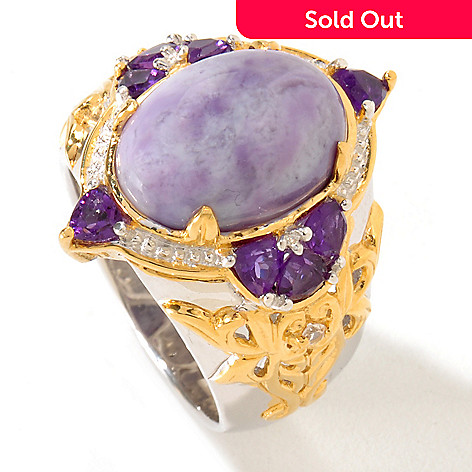 119-509 - Gems en Vogue 14 x 10mm Violet Opal, Amethyst & White Sapphire Ring