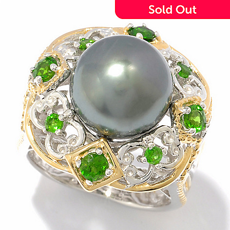 119-511 - Gems en Vogue II 10-10.5mm Tahitian Cultured Pearl & Chrome Diopside Ring