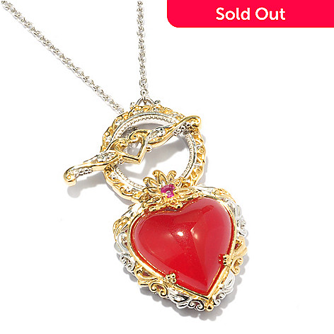 119-514 - Gems en Vogue 20'' Polished Heart Shaped Gemstone Necklace