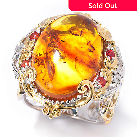 119-517 - Gems en Vogue II 18 x 13mm Baltic Amber & Orange Sapphire Ring