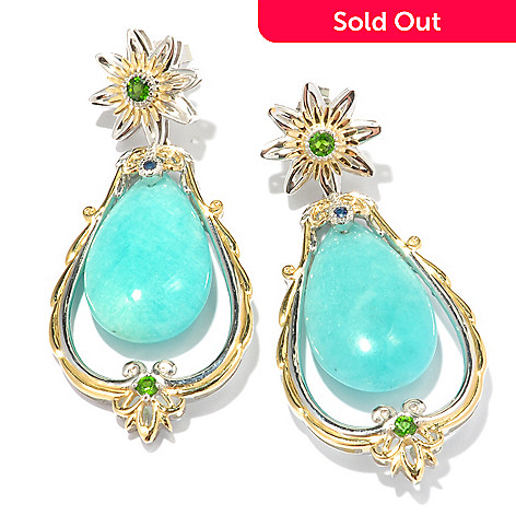 119-519 - Gems en Vogue 26 x 15mm Amazonite, Chrome Diopside & Sapphire Earrings