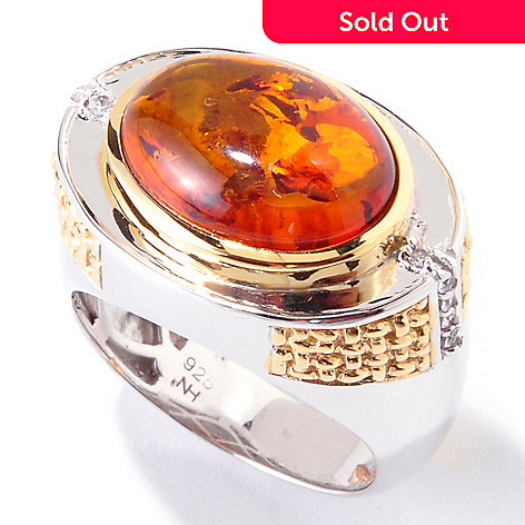 119-522 - Men's en Vogue 16 x 12mm Baltic Amber & White Sapphire Ring