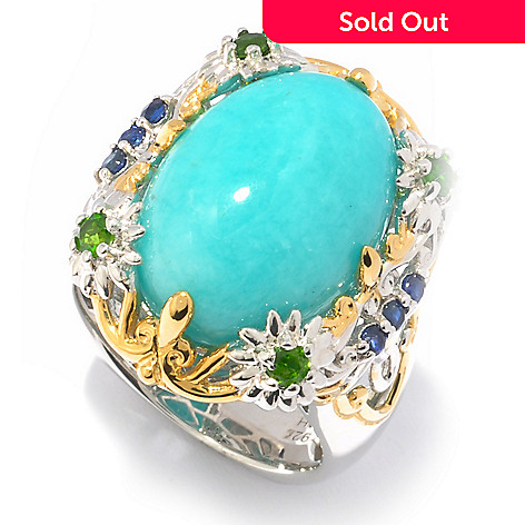 119-523 - Gems en Vogue II 18 x 13mm Amazonite, Chrome Diopside & Sapphire Ring