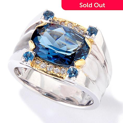 119-524 - Men's en Vogue 7.40ctw London Blue Topaz & White Sapphire Ring