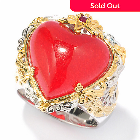 119-527 - Gems en Vogue II 16mm Dyed Red Jade & Ruby Heart Shaped Ring