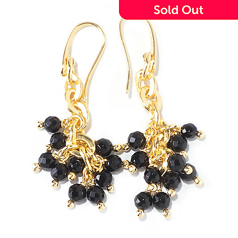 119-529 - Milano Luxe Gold Embraced[ 6.00ctw Onyx Bead Cluster Drop Earrings