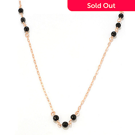 119-532 - Milano Luxe Gold Embraced[ 110'' Onyx Station Cable Link Necklace
