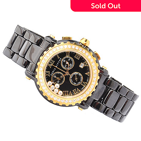 119-567 - Sonia Bitton for Brilliante® Women's Lunette Swiss Quartz Chronograph Ceramic Bracelet Watch