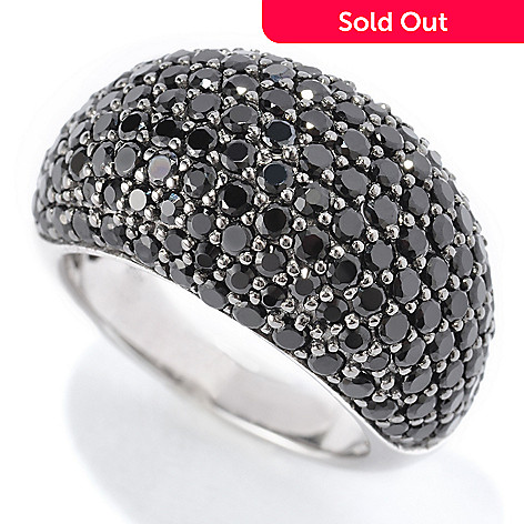119-591 - Gem Treasures Sterling Silver 2ctw Black Spinel Pave Dome Ring