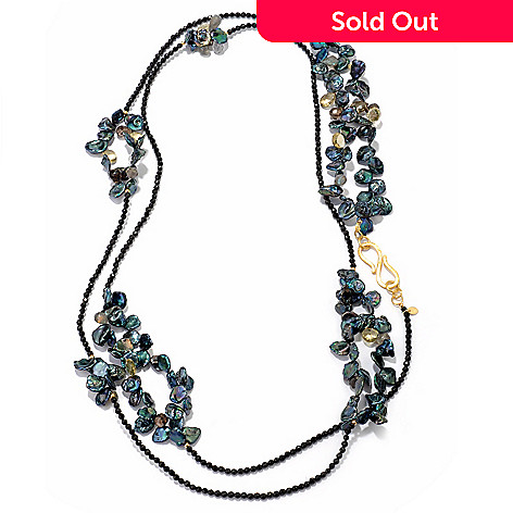 119-654 - Provisor + Wisch 55.5'' Black Agate & Multi Gemstone Station Necklace