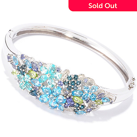 119-692 - NYC II Multi Gemstone Flower Hinged Bangle Bracelet
