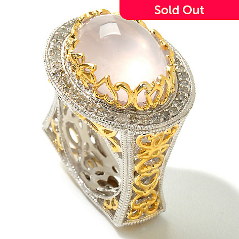 119-716 - Dallas Prince Designs 16 x 12mm Rose Quartz & Diamond Ring