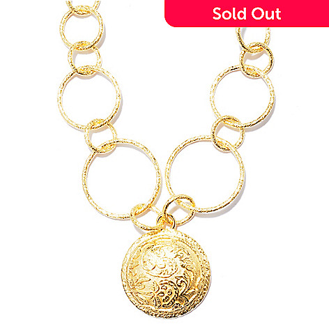 119-753 - Toscana Italiana 18K Gold Embraced™ 20'' Graduated Rolo & Floral Etruscan Medallion Necklace
