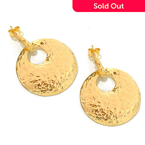 119-755 - Toscana Italiana Gold Embraced™ 1.5'' Martellato Disk Earrings