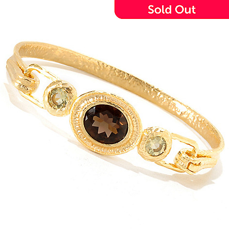 119-757 - Toscana Italiana Gold Embraced[ 6.5'' Smoky & Lemon Quartz Bangle Bracelet