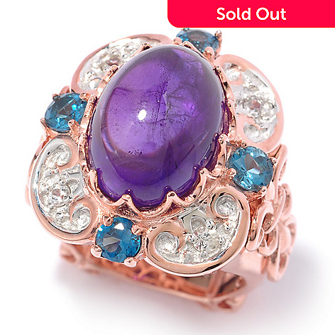 119-761 - Dallas Prince 5.94ctw Amethyst, London Blue Topaz & White Sapphire square Ring