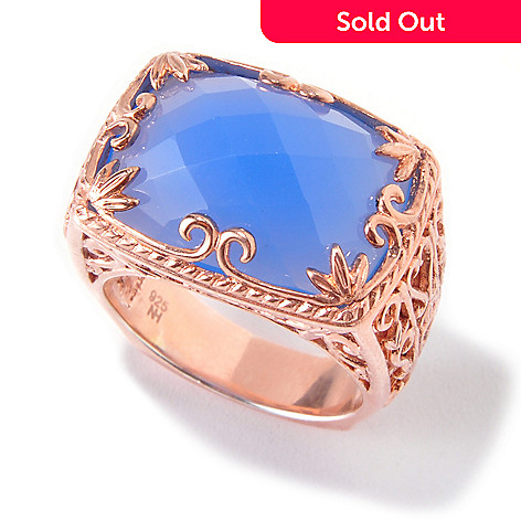 119-763 - Dallas Prince Designs 18 x 13mm Denim Blue Chalcedony Scrollwork Ring