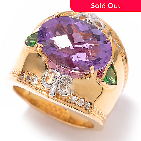 119-766 - Dallas Prince 5.72ctw Amethyst, Tsavorite & White Sapphire Ring