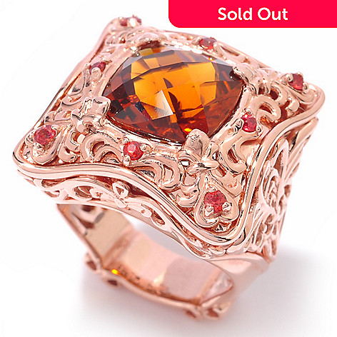 119-772 - Dallas Prince 5.03ctw Madeira Citrine & Orange Sapphire Ring