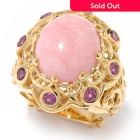 119-773 - Dallas Prince 14 x 12mm Pink Opal & Rhodolite Ring