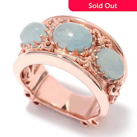 119-776 - Dallas Prince Opaque Aquamarine Scrollwork Ring