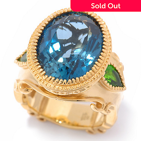 119-778 - Dallas Prince 12.70ctw London Blue Topaz & Chrome Diopside Oval Ring