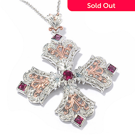 119-781 - Dallas Prince 2.30ctw Rhodolite & White Sapphire Cross Pendant w/ Chain