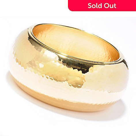 119-859 - Toscana Italiana Gold Embraced[ 8'' Martellato Wide Slip-On Bangle Bracelet