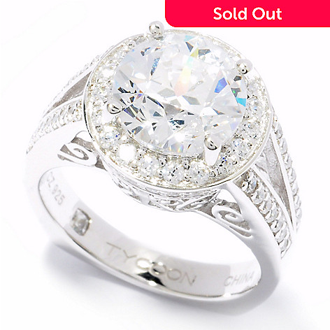 119-868 - TYCOON Platinum Embraced™ 3.48 DEW Simulated Diamond Halo Split Shank Ring