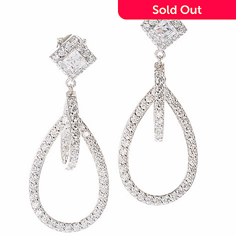 119-875 - TYCOON for Brilliante® Platinum Embraced™ 3.30 DEW Square & Round Double-Drop Earrings