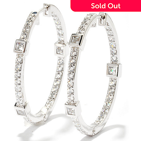 119-877 - TYCOON 2.32 DEW Round & Square Cut Simulated Diamond Hoop Earrings
