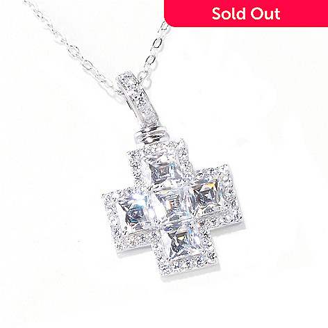 119-882 - TYCOON 4.26 DEW Square Cut Simulated Diamond Cross Pendant w/ 18'' Chain