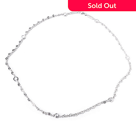 119-884 - TYCOON 18'' 3.77 DEW Round Bezel Set Simulated Diamond Station Necklace
