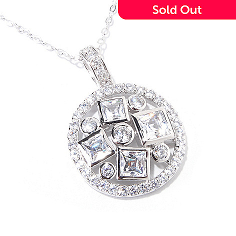 119-888 - TYCOON for Brill Platinum Embraced[ 4.46 DEW Square & Round Bezel Disk Pendant w/ Chain
