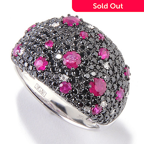 119-903 - EFFY 14K White Gold 2.34ctw Multi Color Diamond & Ruby Band Ring