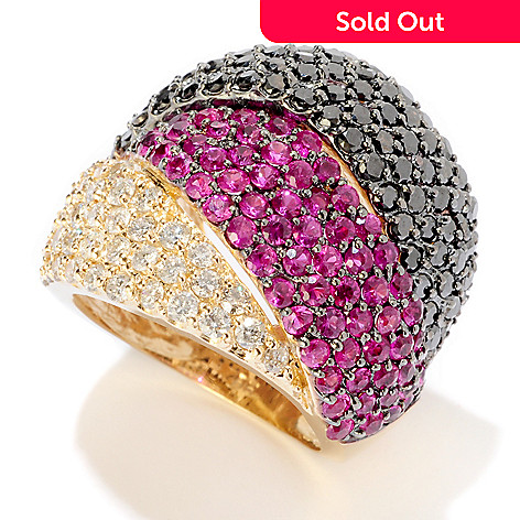119-909 - EFFY 14K Gold 4.37ctw Multi Color Diamond Wide Band Ring