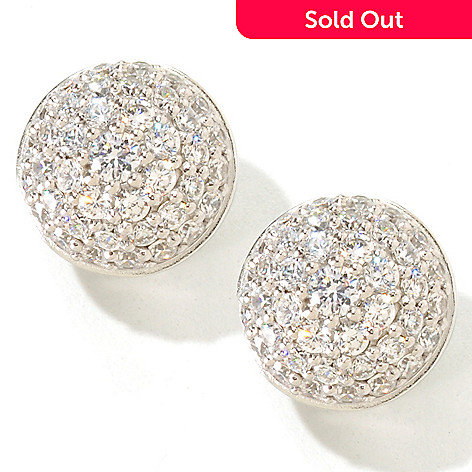 119-926 - Sonia Bitton 3.68 DEW Pave Button Simulated Diamond Stud Earrings