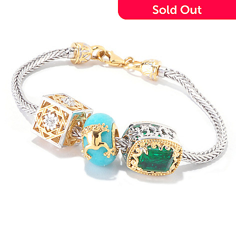 119-938 - Gems en Vogue Multi Gemstone Interchangeable Charm Bracelet w/ Twist-Off Clasp